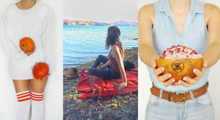 Autumn vibes, dynia, piknik jesienny, koc jesienny, biały sweter, miseczka z tykwy