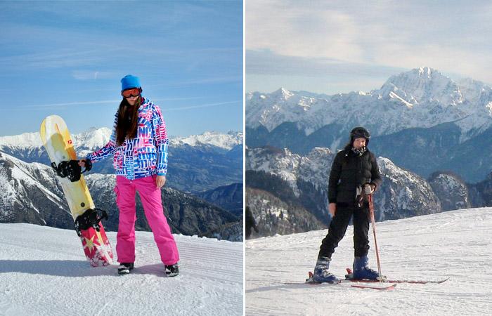 snowboard i narty