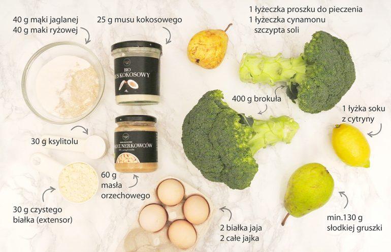 brokuły, cytryna, mąka, mus kokosowy, gruszki, cynamon